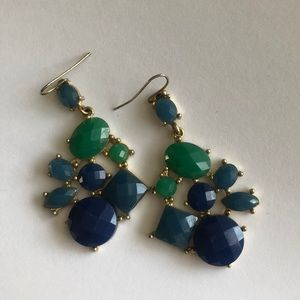 Blue and green tone statement earrings